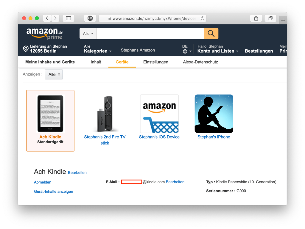 Screenshot der Amazon-Seite